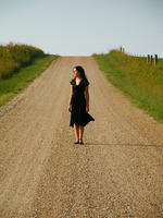 countryroad and girl by lampshaded-stock