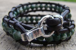 Leather Moss Agate Bracelet by Mommy-of-Monsters
