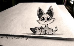 * FENNEKIN - 3D DRAWING ON PAPER * by Iza-nagi