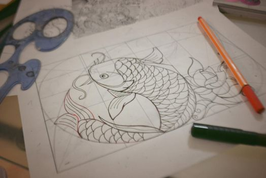 Koi Fish scketch for wall painting by Borboa