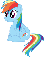 Rainbow Dash Vector: Sitting and Staring by CrimsonLynx97