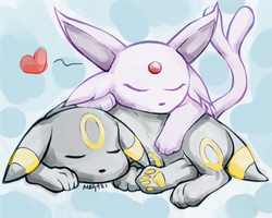 Sleepy Espeon and Umbreon by MzMegs