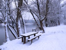 Lonely river bench by A-Xander