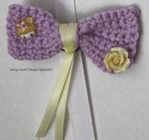Appaloli: Lavender with yellow Small Crochet Bow by Appaloli