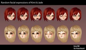 Kimi and Jade Facial expressions by Keiaqua