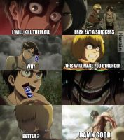 Have a Snicker, Eren. by hetafan123