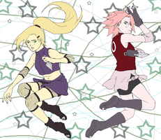 ino vs sakura by rakerumcr