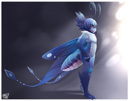 Electric Blue Moth by phation