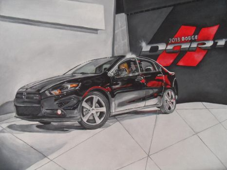 Traditional painting of a 2013 Dodge Dart by Launadoon