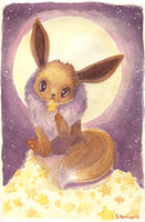Moonlight Eevee Watercolor by inki-drop