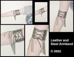 Leather and Steel Armband by Jagarnot