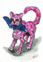 Pink Cat and Blue Bird by Shadsie