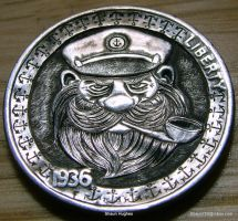 Hand Carved Hobo Nickel 'Capn' by Shaun Hughes by shaun750