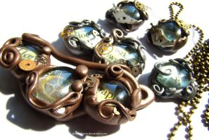 Steampunk jewellery set by dragonflyme