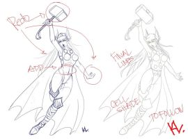 Lady Thor Draft and Lines by Project-Cow