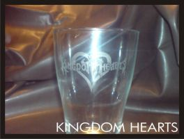 Kingdom Hearts engraved glass by Yuki-Myst
