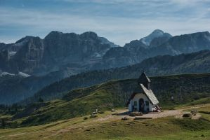 Chapel in Dolomites by minko2312