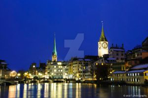 Zurich at Night by Dinozzaver