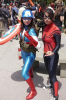 Captain America and Spidergirl by slasherman