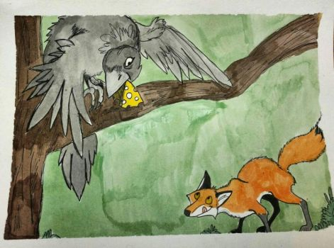Aesop: The fox and the Raven.  by Waddle2u