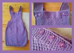 Kid skirt with straps - purple by KnitLizzy