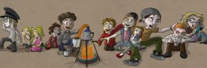 Characters around a campfire by Daniel-McCloskey