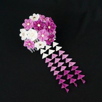 Sweet Violet and White Tsumami Kanzashi 214 by japanesesilkflowers