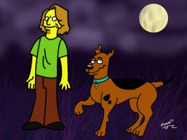 Groening-style Scoob and Shag by Psych93
