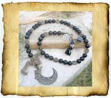 Obsidian Witch Prayer Beads by grimdeva