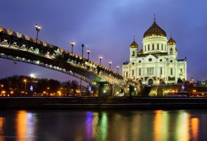 Bridge at night in Moscow by Sergey-Ryzhkov