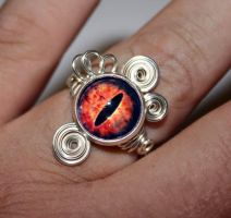 Steampunk Glass Eye of Sauron Wire Wrap Ring by Create-A-Pendant