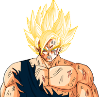 injured ssj goku  frieza saga by dowson1