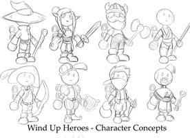 Wind Up Heroes - Character Concepts by SamDeSamD