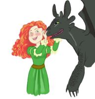 Merida and Toothless by renartsam