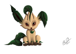 Leafeon, man's best friend by BluHiroo