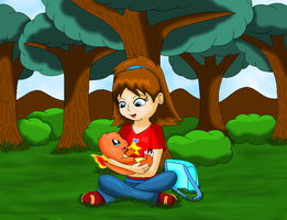 Holding a baby Charmander by SkyBlueArts