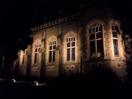 Outside the Dining Hall at Night by LassieTheArtist