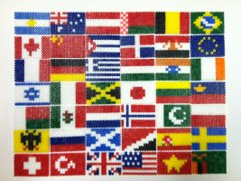 Perler Bead Flags of the World by thewiredslain