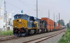 CSXT 3009 leads Q007 20 on maiden run Highland IL by EternalFlame1891