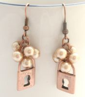 Beige Beaded Earrings With Copper Padlock Charms by MoonlightCraft