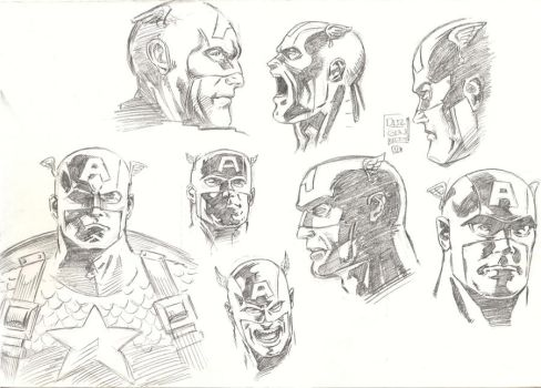 Captain America Head Sketch by aliduzgun