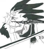 Zaraki Kenpachi wounded in the face by elfooscuro