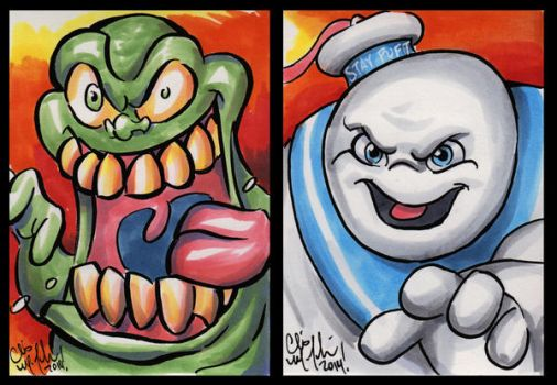 Slimer and Stay Puft ACEOs by ChrisMcJunkin