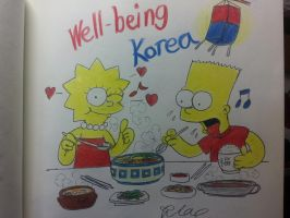 The simpsons:Bart and Lisa Well-being Korea! by komi114