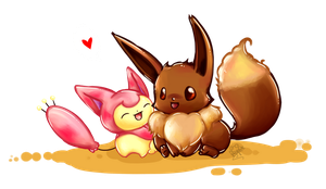 PKMN Doodles Eevee and Skitty by Frog-of-Rock