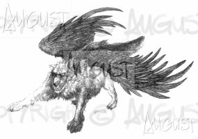 Winged Wolf by AugustAnna