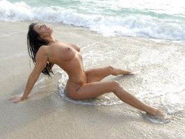 0061-SS Sensual Woman Nude Beach Erotic Ocean Surf by artonline