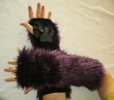 Dark Purple Kitty Arm Warmers by StuffItCreations