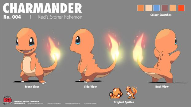 Charmander Model Sheet | Red Comic by moxie2D