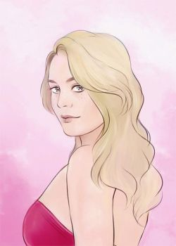 short commission portrait of girl in pink by Everybery